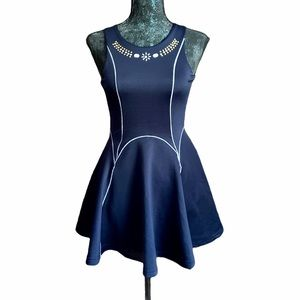 Poof Girl Navy Fit & Flare Dress w/Embellishments
